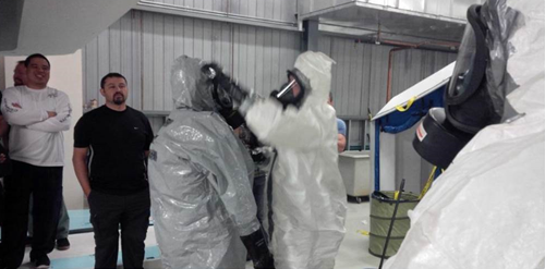 trainees in full PPE